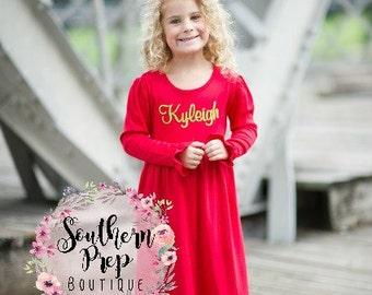 Red Girl's Winter Dress - Long Sleeve monogram dress - monogram shirt - Dress Monogram