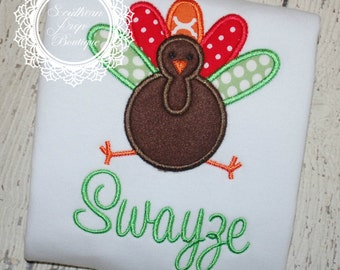 Thanksgiving Turkey Applique Shirt - Personalized - Thanksgiving - Holiday Design