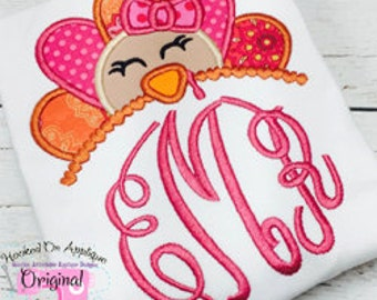 Turkey with bow Applique Monogram Shirt - Girl's shirt - Thanksgiving shirt