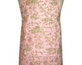 Floral on Pink Fabric 'Kitchen Basics' Woman's / Ladies Apron - Birthday, Christmas Gift Idea .  HANDMADE .