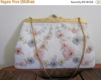 Beaded Bag / 1960s / Wedding Purse / Astronaut Wives Club / Bridal Bag / Mad Men / Floral