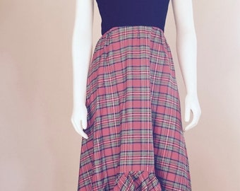 70s Maxi Dress / Christmas Dress / Red Plaid / Hi Low Dress / Boho / Preppy Christmas / Tartan Plaid