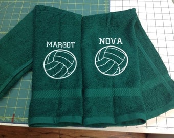 Volleyball, volleyball towel, personalized towel, sport towel, solid fill volleyball, personalized items, 16 x 27, message for team orders