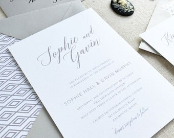 Calligraphy Wedding Invitation. Modern Letterpress Wedding Stationery. Sophisticated Invite for Classic Weddings in Neutral Tones - Grey