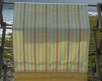 Vintage striped pillowcase with yellow, orange, green, and pink, and brownish stripes, retro, pillowcase, bedding, linens, stripes,