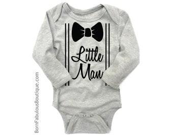 Baby Boy Clothes Little Man Bow Tie Onesie Suspenders New Baby Gift