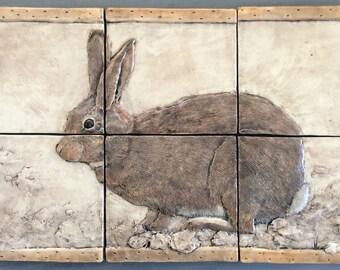 Handcrafted ceramic rabbit mural tiles