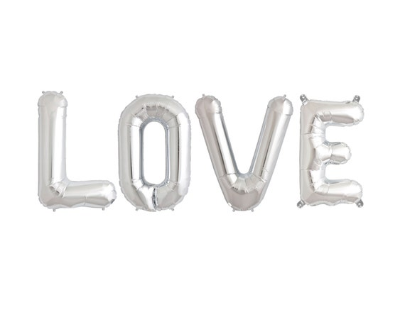 Letter balloons love balloons large 34 foil mylar by for Large foil letter balloons