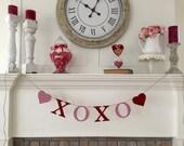 4 Inch German Glass Glitter - XOXO - Valentines Day Garland - Rose Pastel Pink & Red
