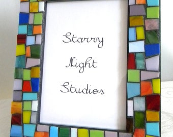Multi-Color Stained Glass MOSAIC Frame OR Mirror