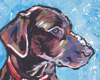 chocolate lab Labrador Retriever Dog art print of pop art painting 8x8