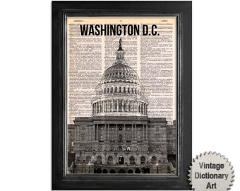 Washington DC - Cityscape printed on Recycled Vintage Dictionary Paper - 8x10.5 Dictionary Art Print