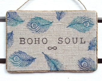 Boho soul - Boho decor - Bohemian wall decor - Gypsy Decor - Boho decor - College dorm girl - Boho chic - Boho dorm decor - Hippie decor