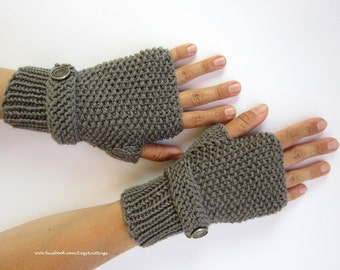 knitting pattern PDF pattern arm warmers wrist warmers gloves mittens PDF seed stitch with strap and buttons
