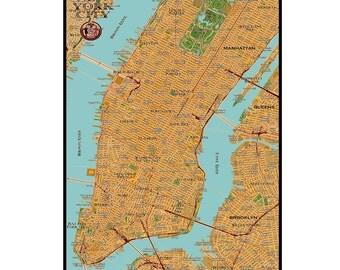 NEW YORK CITY Map 3E- Handmade Leather Wall Hanging - Travel Art