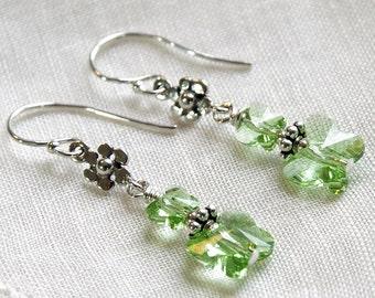 Butterfly Earrings Green Swarovski Crystal Sterling Silver Drop Dangle Spring Summer Outdoor Garden Wedding Bridesmaids Gifts Jewelry
