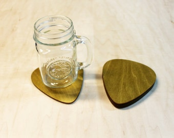 Guitar Pick Wooden Drink Coasters