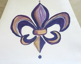Purple Fleur de Lis Hand Towel - New Orleans Hand Towel - Original Art - Kitchen Towel - New Orleans Gift - Wedding Gift - New Home Gift