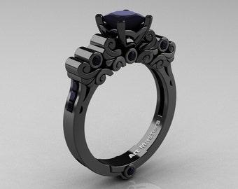 Classic Armenian 14K Black Gold 1.0 Ct Black Diamond Solitaire Wedding Ring R608-14KBGBD