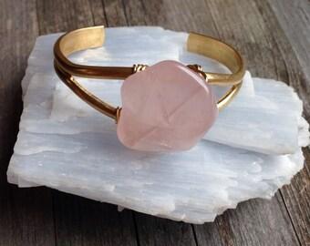 Rose Quartz stone wire wrapped brass cuff bracelet