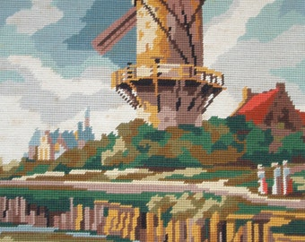 Vintage French needlepoint tapestry canvas embroidery wall hanging.  The windmill