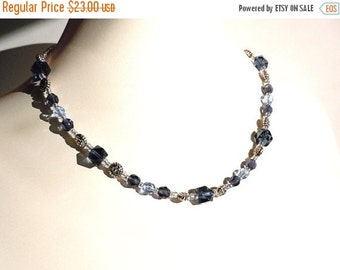 Clearance Sale Navy and Silver Tone Necklace - Crystals - Glass - Metal Lentil Beads - Seed Beads - Barrel Clasp - Handmade