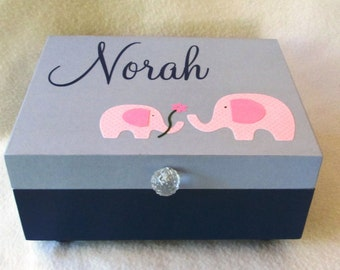 Baby Keepsake Box, Baby Memory Box, Personalized Keepsake Box -  Gift Box, Navy and Grey Memory Box - Elephant -   Shower Gift