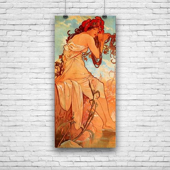 """Summer, by Czech Artist Alphonse Marie Mucha, Art Print Poster 12""""x18"""""""