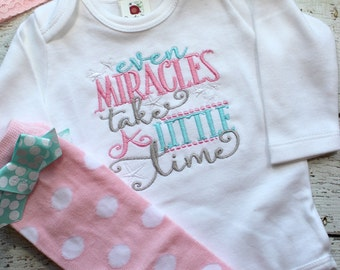 personalized bring home outfit for girl, personalized newborn photo outfit, baby hospital gown, newborn take home outfit, miracles take time