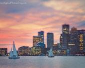 Boston skyline art print Boston tall ships photography grey home decor Boston Harbor print large wall art cityscape photo blue purple pink