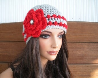 Womens Hat Crochet Hat Winter Fashion Accessories Women Beanie Winter Hat Light gray with Red Stripes and Crochet Flower