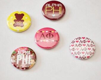 "Alpha Phi 1"" Buttons"