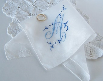 Monogrammed M Vintage Bride's Handkerchief Something Old and Something Blue Hanky Shower Gift