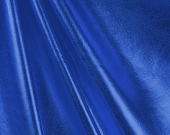 Metallic Foil Spandex Fabric by the yard - Royal Blue