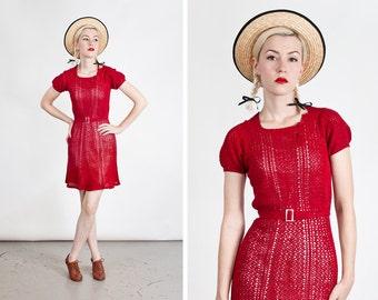 Vintage 1930s Red Knit Girls Dress