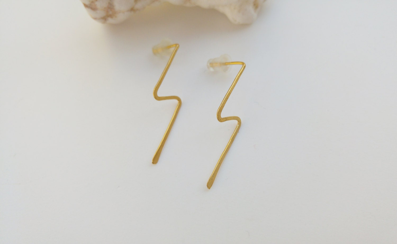Lightning Bolt Earrings. Flash Stud Earrings. Long Studs. Minimalist ...