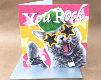 """Rock and roll punk cat BIRTHDAY or GREETINGS card with text """"You Rock"""""""