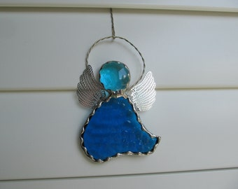 Stained Glass Blue English Muffle Glass Angel Ornament/Suncatcher - Gift tag Personalized Hand Stamped Tags now Available