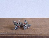 20% CNY SALE - Vintage 1910's Victorian Era Diamante Leaf Screw Back Earrings