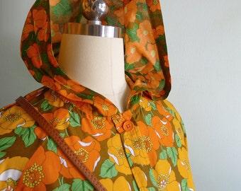 Vintage 70's Poppy Orange Mod Orange Rainboat Hoodie Blouse XS or S