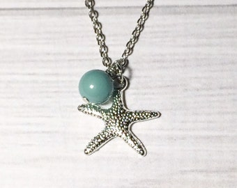 Starfish Necklace Gift For Her Beach Jewelry Jade Pearl Necklace Bridesmaid Gift Mint Necklace,