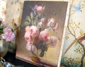 Romantic Floral Canvas Painting for Dollhouse