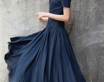 Navy Blue Maxi Dress/ Party Dress/ Prom Dress /Cocktail Dress for Women - NC707