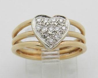 Diamond Cluster Heart Ring Promise Ring 14K Yellow White Gold Size 5