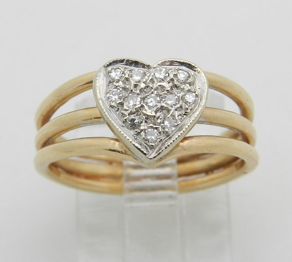 SALE Diamond Cluster Heart Ring Promise Midi Ring 14K Yellow White Gold Size 5