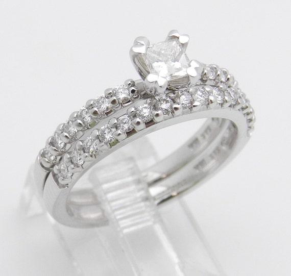 Princess-Cut Brilliant Diamond Engagement Wedding Ring Set 18K White Gold 1.00 ct Size 7.25