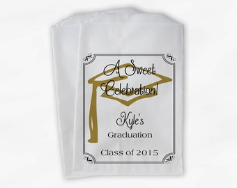 Graduation Favor Bags - 2017 Sweet Celebration Party Custom Favor Bags - Set of 25 Black and Gold Paper Treat Bags (0076)