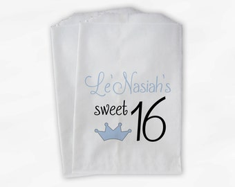 Sweet 16 Birthday Personalized Candy Buffet Bags - Baby Blue Heart Custom Favor Bags - 25 Paper Treat Bags (0081)