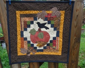 Fall quilt, Harvest Time Fall Leaves and Acorns with Pumpkin 0719-02