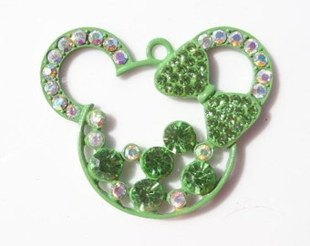 47mm Green Minnie Mouse Inspired Rhinestone Pendant, P30